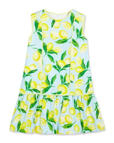 Painted Lemons Poplin Shift Dress, Yellow, Size 4-14