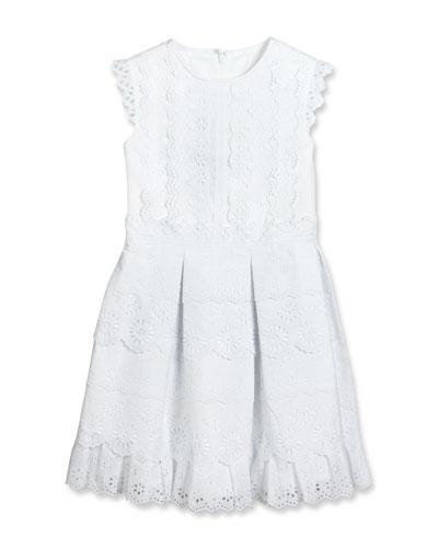 Sleeveless Pleated Cotton Eyelet Dress, White, Size 2-14