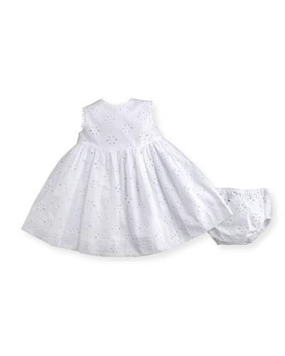 Cotton Poplin Eyelet Dress w/ Bloomers, White, Size 12-24 Months