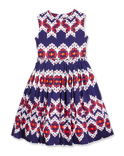 Pleated Cotton Ikat Party Dress, Blue, Size 2-14