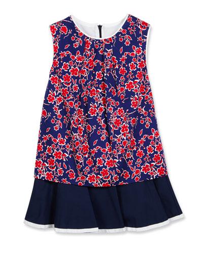 Sleeveless Floral Cotton Flounce Dress, Blue, Size 4-14