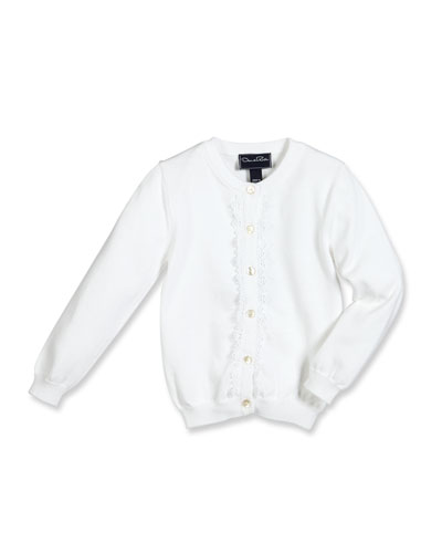 Lace-Trim Cotton Cardigan, White, Size 4-14