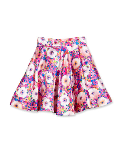 Floral Mikado Circle Skirt, Pink, Size 2-14