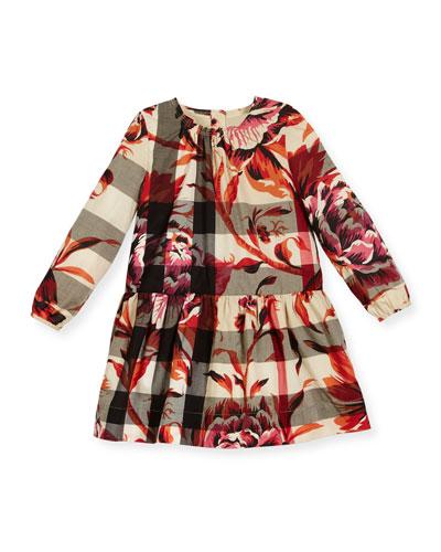Tais Floral Check Poplin Dress, Pink/Tan, Size 12M