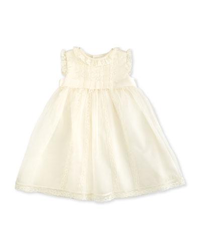 Sleeveless Lace-Trim Silk Organza Dress, Ivory, Size 3-24 Months