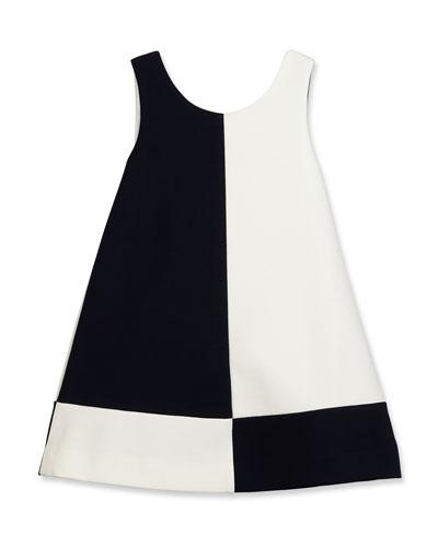 Sleeveless Ponte Colorblock Shift Dress, Dark Navy/White, Size 7-14