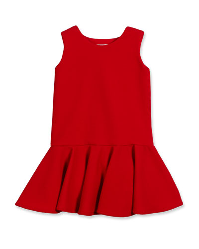 Sleeveless Stretch Pique Fit-and-Flare Dress, Red, Size 7-14