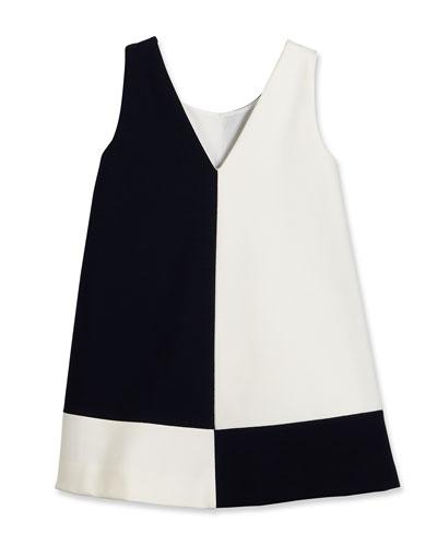 Sleeveless Ponte Colorblock Shift Dress, Dark Navy/White, Size 4-6