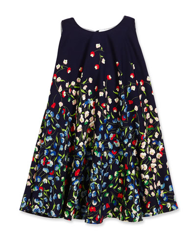 Sleeveless Floral Crepe Swing Dress, Navy, Size 4-6