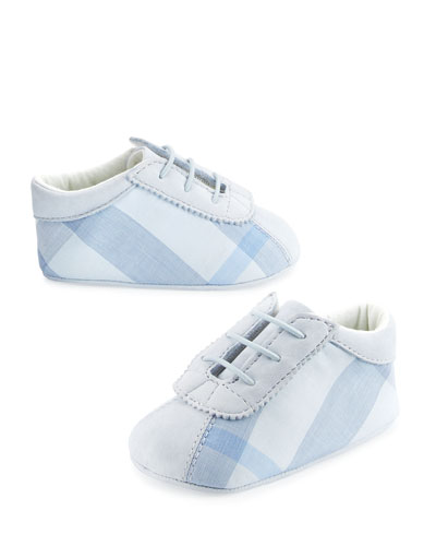 Bosco Check & Leather Baby Booties, Blue