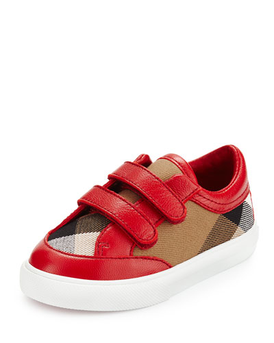 Heacham Check Canvas Sneaker, Red/Tan, Infant