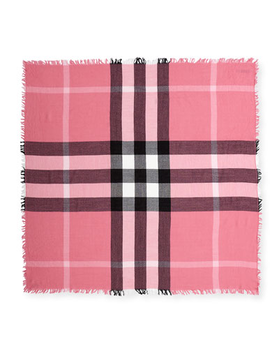 Kids' Square Check Wool Scarf, Pink