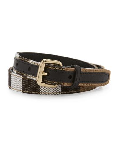 Kids' Leather Check-Trim Belt, Black/Multicolor