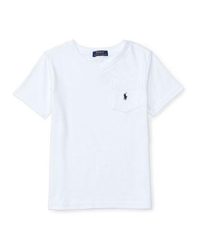 Cotton Jersey V-Neck Tee, White, Size 5-7