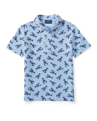 Short-Sleeve Mesh Lobster Polo Shirt, Blue, Size 5-7