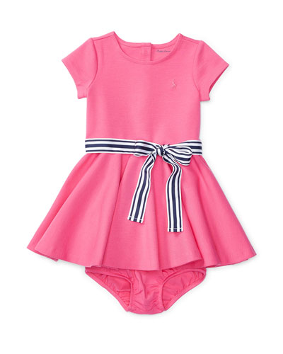 Cap-Sleeve Ponte Circle Dress w/ Bloomers, Pink, Size 6-24 Months