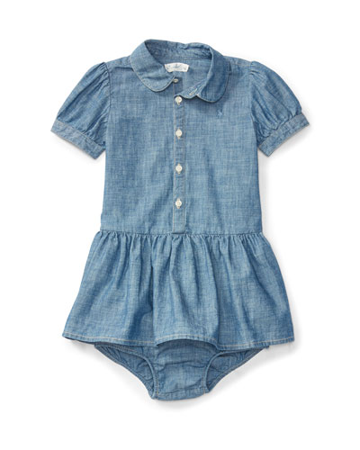Short-Sleeve Smocked Cotton Chambray Dress, Blue, Size 6-24 Months