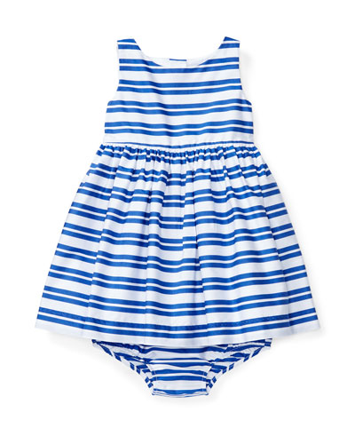 Sleeveless Smocked Striped Poplin Dress w/ Bloomers, Blue, Size 6-24 Months