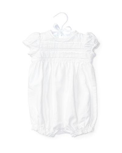 Pintucked Linen-Blend Bubble Shortall, White, Size 3-18 Months