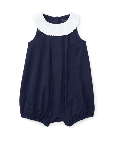Sleeveless Pleated Jersey Overalls, Blue, Size 3-18 Months