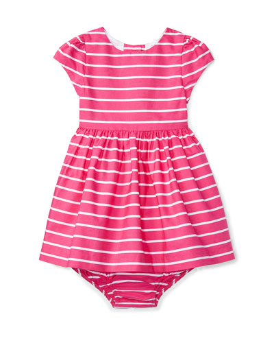 Cap-Sleeve Striped Sateen Dress w/ Bloomers, Pink, Size 6-24 Months