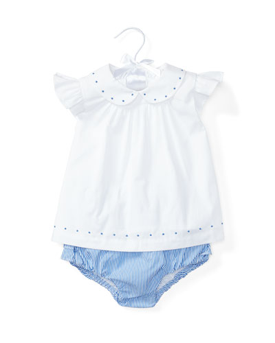 Sleeveless Embroidered Poplin Top w/ Striped Bloomers, White, Size 6-24 Months