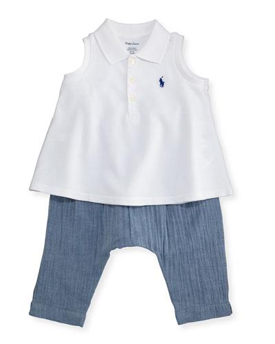Sleeveless Polo Shirt w/ Chambray Pants, White, Size 6-24 Months