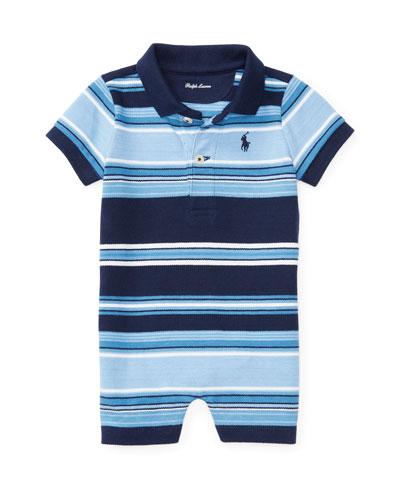 Striped Cotton Mesh Shortall, Blue, Size 3-18 Months