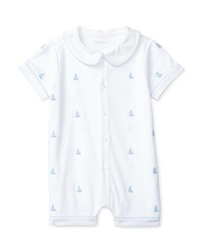 Pima Jersey Sailboat Shortall, White, Size 3-18 Months
