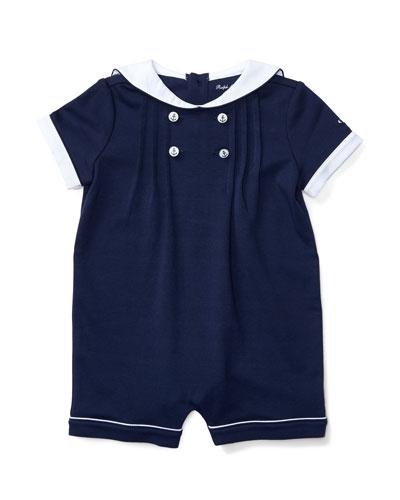 Pintucked Jersey Sailor Shortall, Blue, Size 3-18 Months