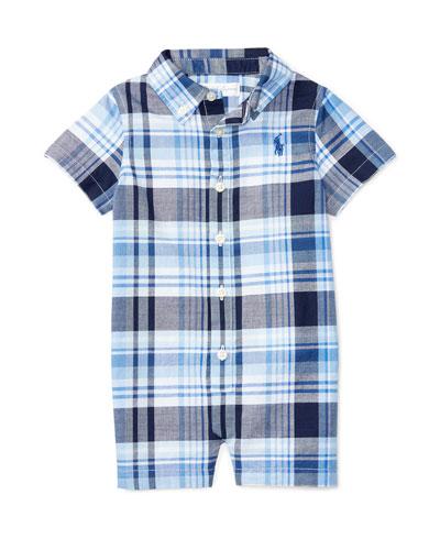 Short-Sleeve Plaid Poplin Shortall, Blue, Size 3-18 Months