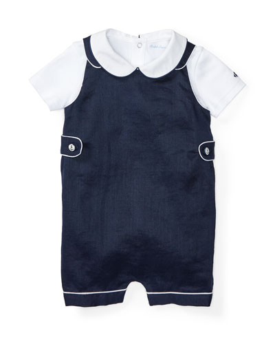 Buttoned Ramie Overalls w/ Pima Playsuit, Blue, Size 6-24 Months