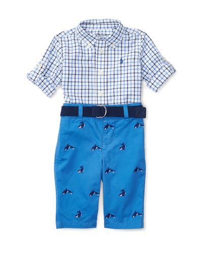 Tattersall Shirt w/ Belted Schiffli Pants, Blue, Size 6-24 Months