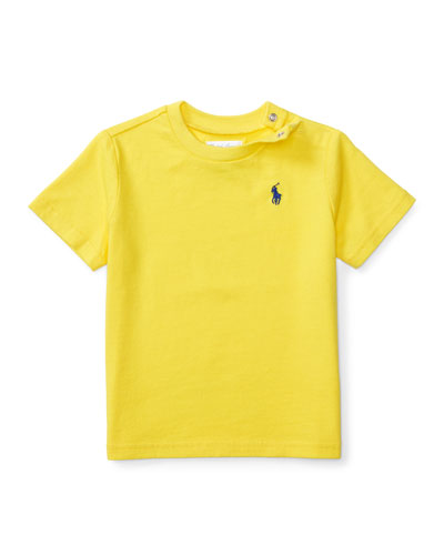 Cotton Crewneck Jersey Tee, Yellow, Size 6-24 Months
