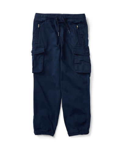 Chino & Terry Cargo Pants, Blue, Size 5-7