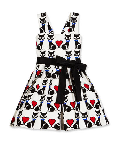 Sleeveless Pleated Fit-and-Flare Kitty Dress, Black/White, Size 4-6