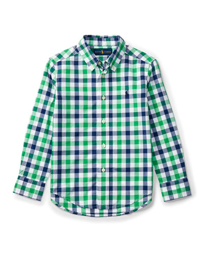 Long-Sleeve Check Sport Shirt, Green, Size 5-7