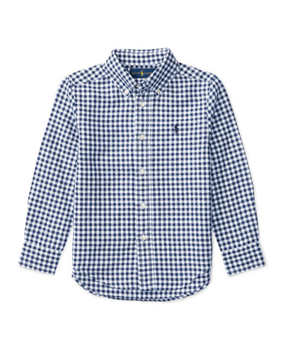 Long-Sleeve Gingham Sport Shirt, Blue, Size 5-7
