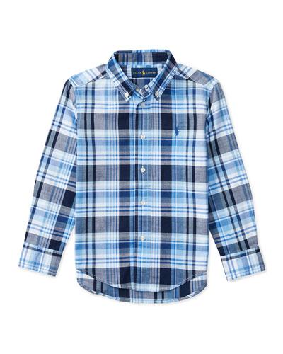 Long-Sleeve Plaid Sport Shirt, Blue, Size 5-7