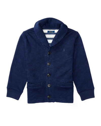 Melange Fleece Shawl-Collar Cardigan, Blue, Size 5-7