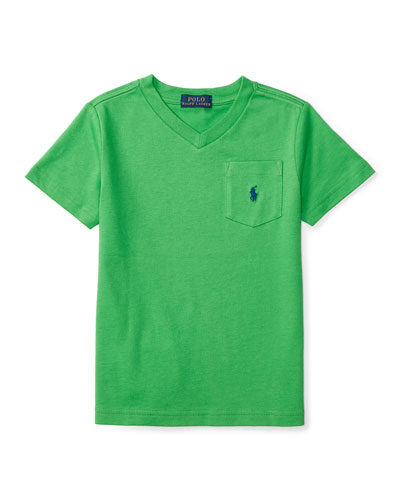 Cotton Jersey V-Neck Tee, Green, Size 5-7