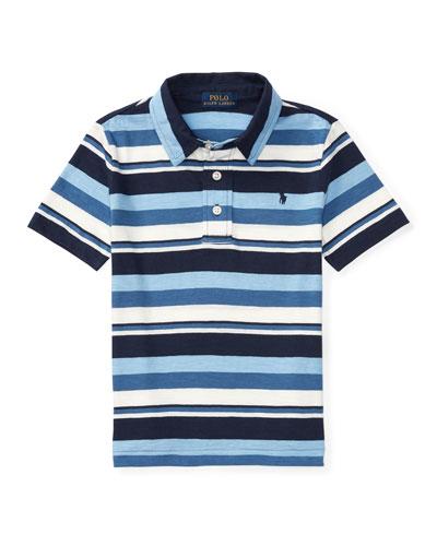 Short-Sleeve Striped Jersey Polo Shirt, Blue, Size 5-7
