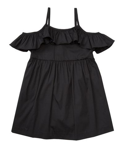 Smocked Cold-Shoulder Stretch Poplin Dress, Black, Size 4-7