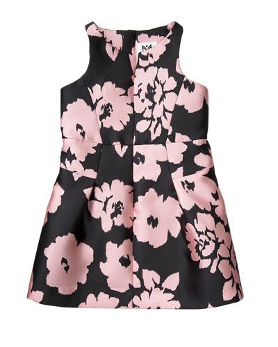 Sleeveless Floral Twill Racerback Dress, Pink, Size 8-16