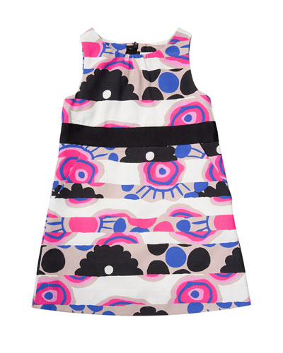 Sleeveless Banded Floral Shift Dress, Multicolor, Size 4-7