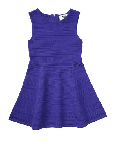Sleeveless Stretch Jacquard Fit-and-Flare Dress, Size 4-7