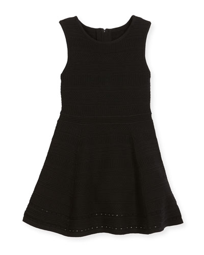 Sleeveless Stretch Jacquard Fit-and-Flare Dress, Size 8-14