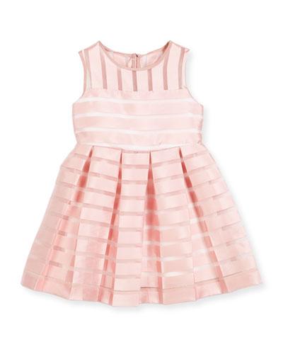 Sleeveless Pleated Sheer Stripe Dress, Pink, Size 4-7