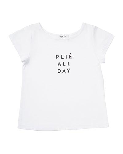 Plié All Day Jersey Tee, White, Size 8-14