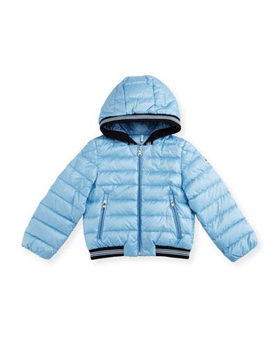Goustan Hooded Striped-Trim Puffer Jacket, Light Blue, Size 3M-3
